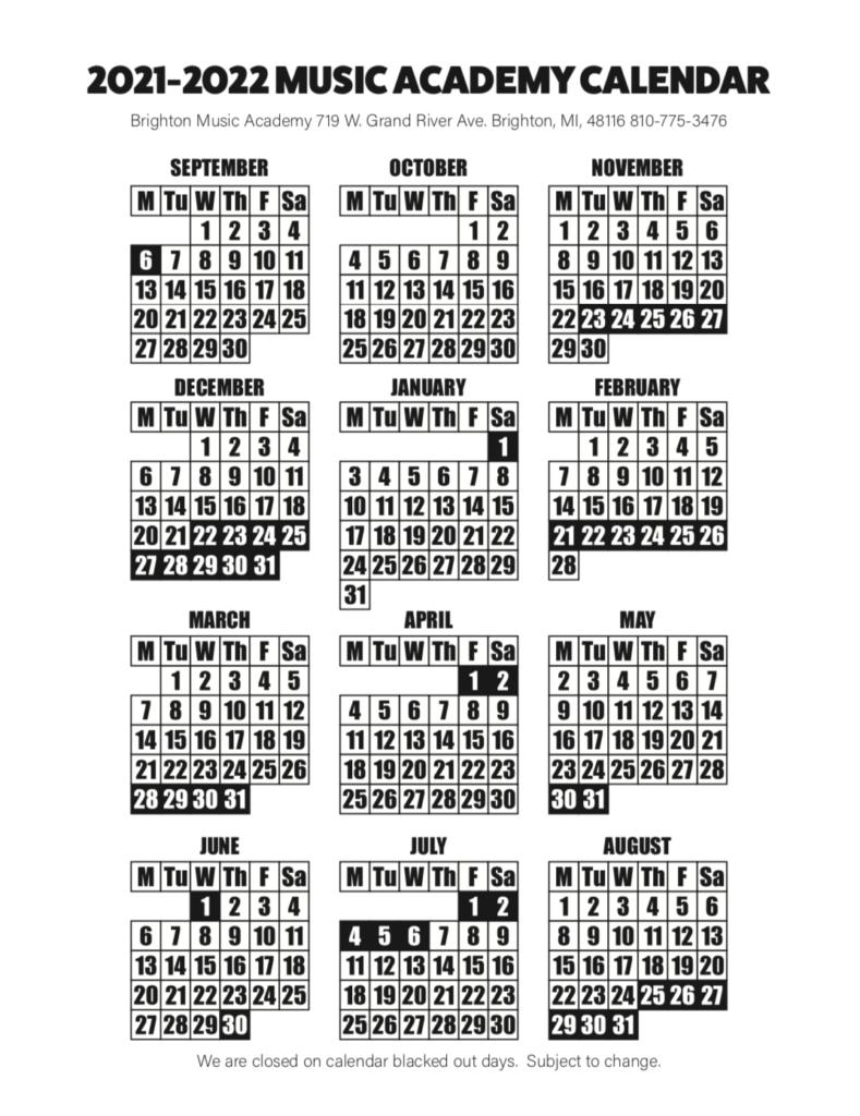 2021 Music School Calendar Brighton Music